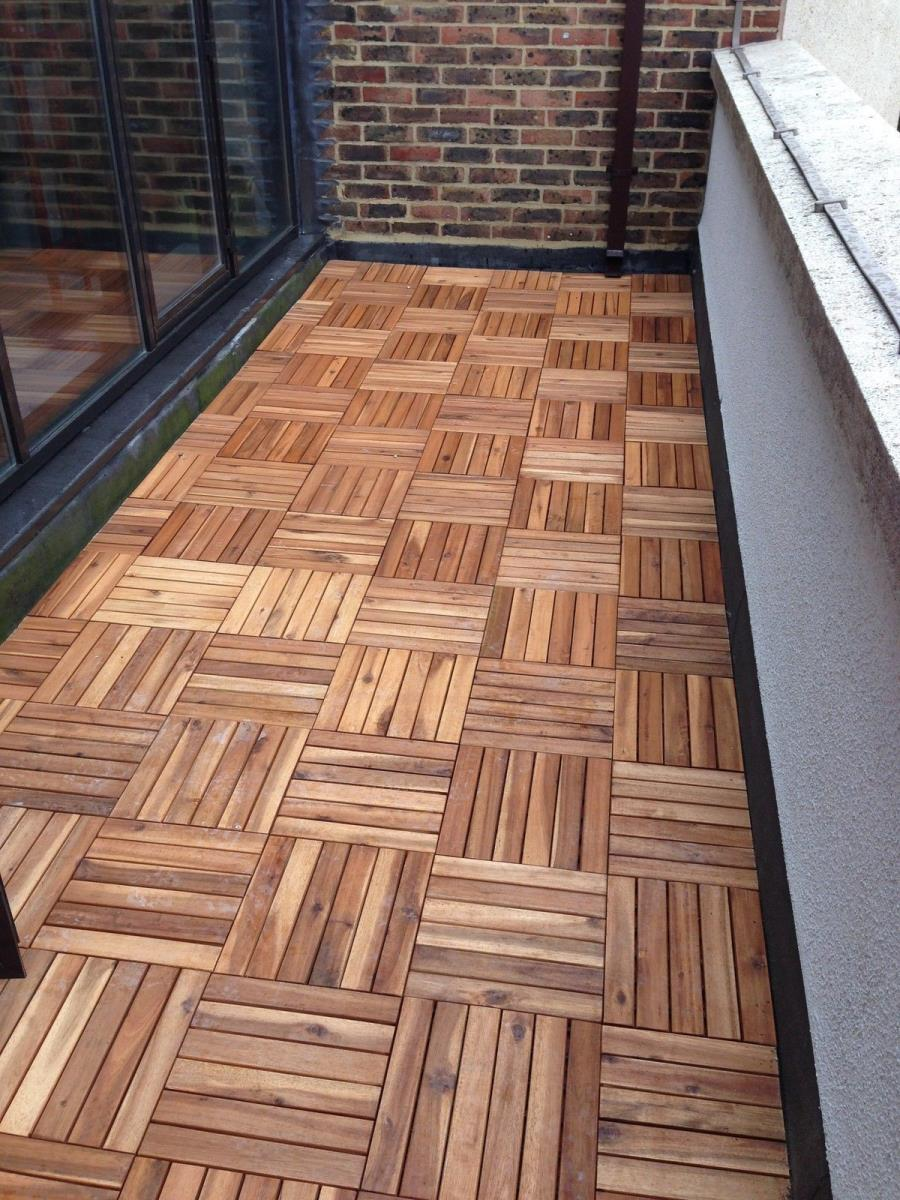 15 mm hardwood 6 strip acacia deck tile a interlocking for Garden decking for sale