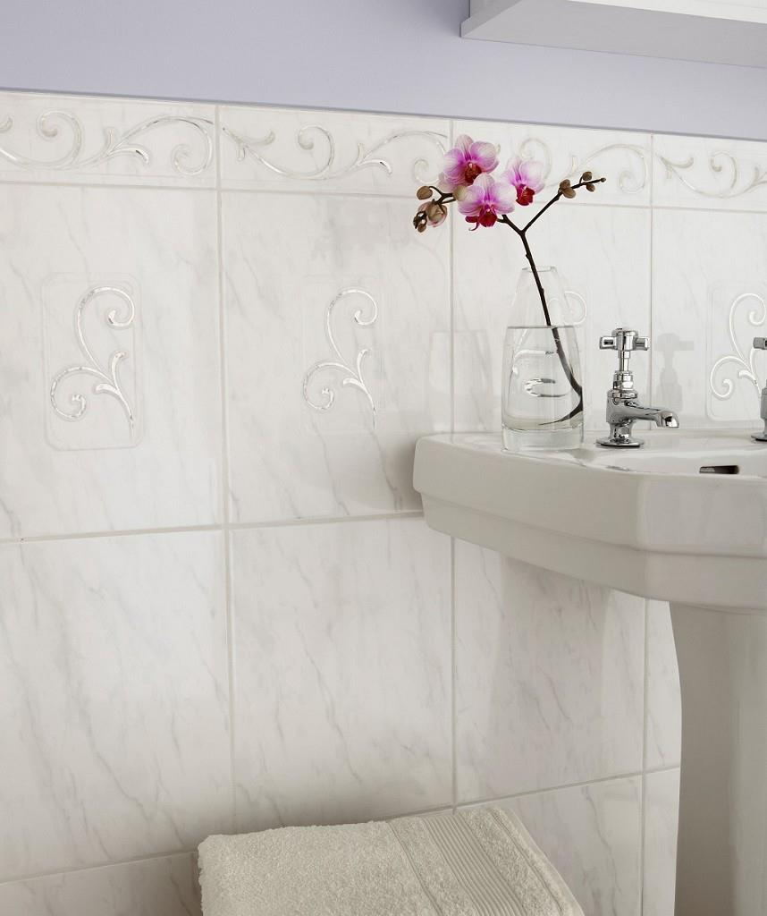 bathroom wall tiles white plain or pattern (buy all or separate ...
